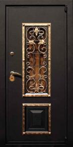 Стальная дверь с ковкой и стеклопакетом
