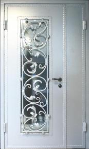 Дверь стальная двустворчатая с ковкой